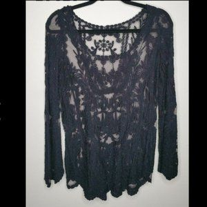 Tulle and Lace Sheer Bell Sleeve Top Medium Black